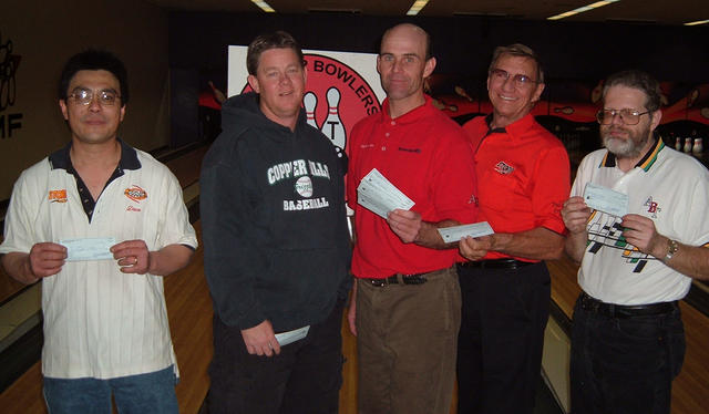 AMF RITZ LANES YEAR-END MASTERS DIV. WINNERSDEC. 16 & 17, 2006(L to R)Dave Sase CHAMPION, Lance Blood 2nd,Wyatt Wadley 3