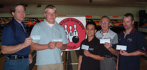 OLYMPUS HILLS LANES CLASSIC DIV. WINNERSOCT. 21 & 22, 2006(L to R) Clark Keithley 5th,Earon Hudson 2nd,Jimmy Tran CH