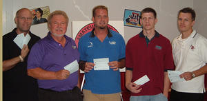 BONWOOD BOWL MASTERS DIV. WINNERSSEPT. 2-4, 2006(L to R) Jeff Foster 4th,Jerry Meissner 2nd,Mike Hymas CHAMPION,Dustin